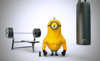 Bodybuilder, exercise, minion, Despicable Me 3, 4k
