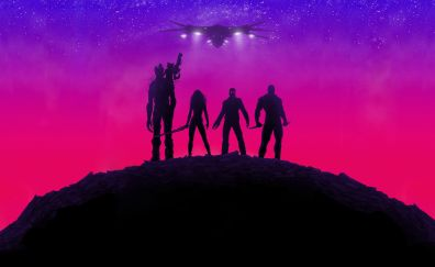 Guardians of the galaxy, movie, neon lights, team, superhero, poster