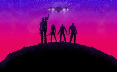 Guardians of the galaxy, movie, neon lights, team, superhero, poster