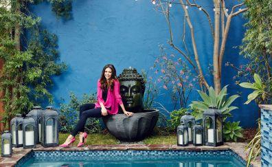 Nina dobrev, swimming pool, brunette, celebrity