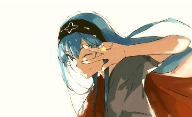 Blue hair, wink, anime girl, Akame, Akame ga Kill!