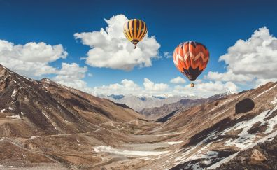 Hot air balloon, ride in leh, mountains, 4k