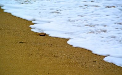 Sand, foam, sea waves, beach, 4k