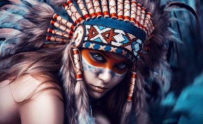 Native american, woman, artwork, makeup