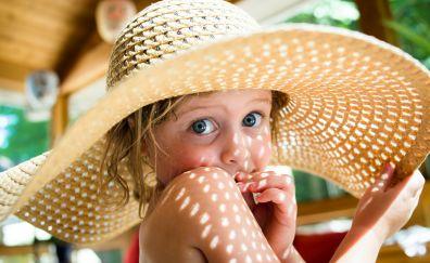 Cute little girl, big hat, summer, holiday