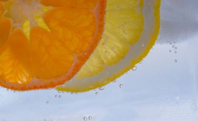 Lemon slices, fruits, drinks, water