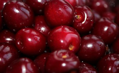 Red cherry, close up, fruits