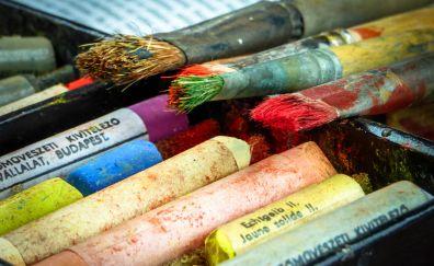 Brushes, chalk, pastels