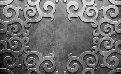 Metal patterns lines silver background