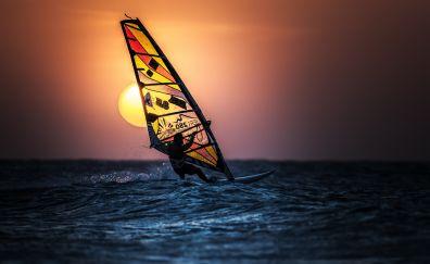 Windsurfing, sunset, sea, sun