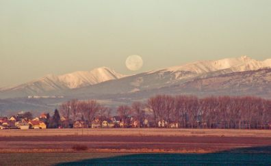 Mountains, landscape and super moon 2016