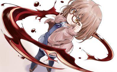 Short hair, glasses, Mirai Kuriyama, Kyoukai no Kanata