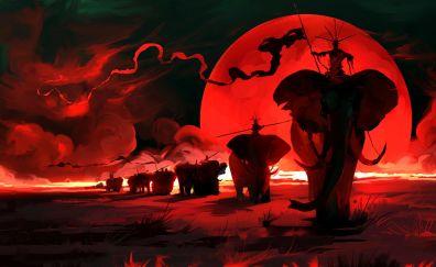 Warriors on elephants, war, red, art