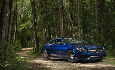 Mercedes AMG C63 S coupe blue car