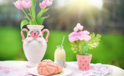 Flowers, pink flowers, vase, table