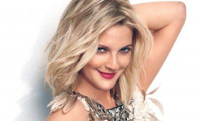 Drew Barrymore, blonde, face, smile