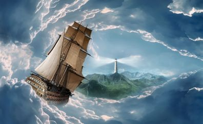 Voyage and lighthouse in clouds