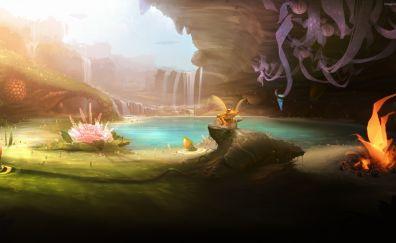 Fantasy forest, frog, pond, flowers