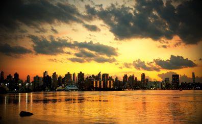New york, city, sunset, skyscrapers, sea