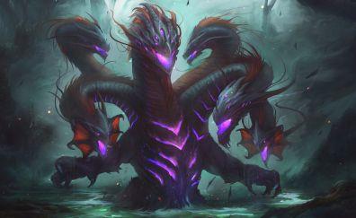 Creature, art, 4k, hydra, fantasy