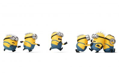 Minions, running, Despicable Me 3, 2017, 4k, 8k