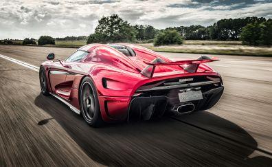 Koenigsegg Regera, sports, red car, rear view, 4k
