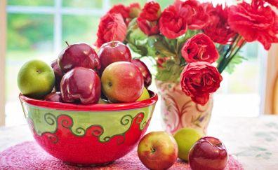 Apples, basket, flowers, 5k