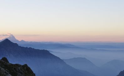 The maritime alps, horizon, sunset, 4k