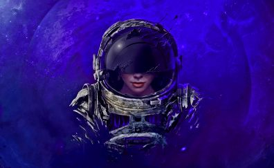 Girl, astronaut, face, art