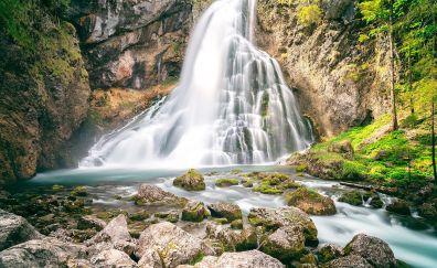 Rocks, moss, waterfall, nature