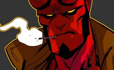 Hellboy, smoking, red face
