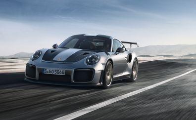 Porsche 911 GT2, silver car, front view