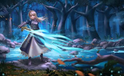 Saber of blue, anime girl, fate/stay night