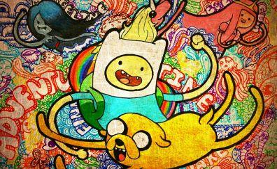 Adventure time, finn and jake, graffiti, colorful artwork