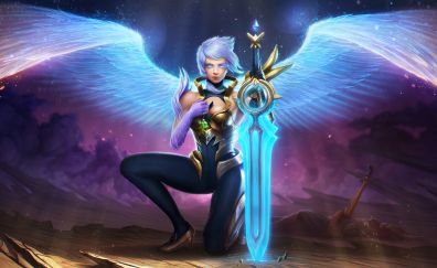 Riven, league of legends, online game, wings, sword