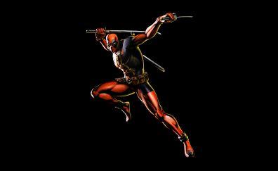 Deadpool, minimal, dark, marvel comics, 4k