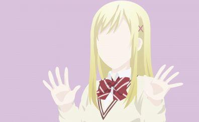 Urara Shiraishi, minimal, Yamada-kun to Nananin no Majo, anime girl, 4k