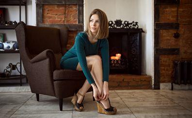 Chair, beautiful, woman, sitting