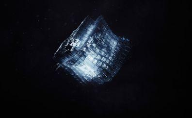 Render, shape, cube, dark