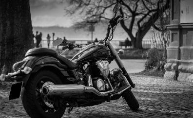 Yamaha motorcycle, monochrome