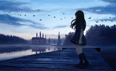 Sunset, anime girl, dock, reflections, original
