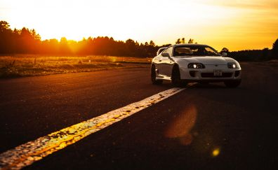 Toyota, white, sports car, front view, sunset