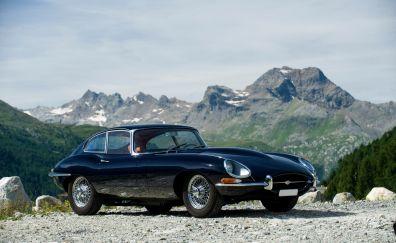 Jaguar E-type black car, sports cars