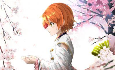 Rin Hoshizora, Love Live!, anime girl, joy, blossom