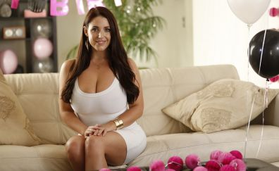 Angela white, girl model, sofa, smile