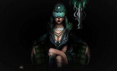 Fantasy, masked, black woman