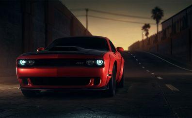 Dodge challenger, red, front