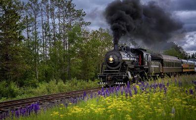 Train, landscape, railway track, railroad, smoke