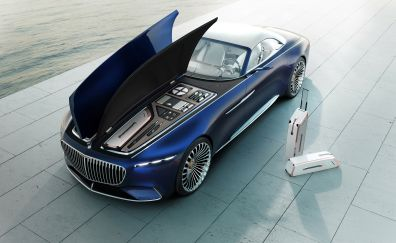 Vision Mercedes-Maybach 6 Cabriolet, open bonnet, luxury car, 2017