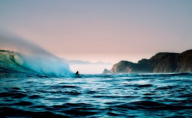 New Zealand, coast, surfing, sea waves, surfer, sea, cliffs
